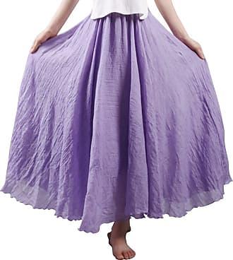 OCHENTA Womens Bohemian Style Elastic Waist Band Cotton Linen Long Maxi Skirt Dress Violet 95CM Length