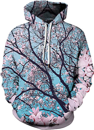 Ocean Plus Mens Colourful Sweatshirt with Hood Unisex Hoodie with Digital Print and Drawstring Long Sleeve Sweatshirt with Front Pocket (4XL (Chest: 137-157CM),