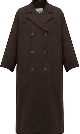 Ganni Pow Double-breasted Check Twill Coat - Womens - Dark Brown