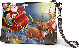 GLGFashion Womens Leather Wristlet Clutch Wallet Merry Christmas Santa Claus Storage Purse With Strap Zipper Pouch