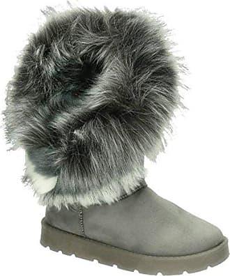 King Of Shoes Warm Gefütterte Bequeme Damen Stiefeletten Stiefel Boots  Flache Schlupfstiefel Winter Langschaft 896 ( b0c948778a