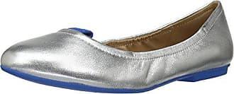 The Fix Womens Sloan Tab Elasticated Ballet Flat, Silver Metallic/Blue, 6 B US