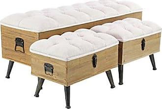 UMA Enterprises Inc. Deco 79 90651 Storage Bench, 20 x 48, Brown/White