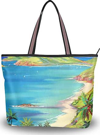 Lorona Women Island Art Paradise Canvas Shoulder Hand Bag Large Capacity Tote Bag