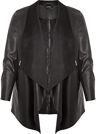 Yours Clothing Clothing Womens Plus Size PU Leather Waterfall Jacket Size 22-24 Black