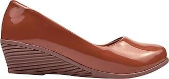 Eleganteria Sapato Scarpin Verniz Anabela Salto Médio Eleganteria Tamanho:38;Cor:Marrom