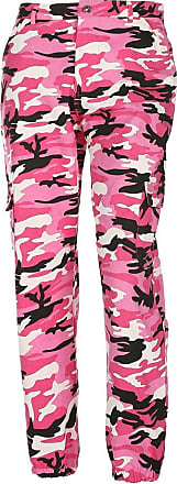 junkai Women Camouflage Pants - Ladies Loose Leisure Multi-Pocket Jeans Military Army Camouflage Sports Jogging Trousers Red M