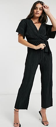 Y.A.S wrap jumpsuit with kimono sleeve in black plisse