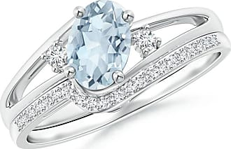 Angara Valentine Day Sale - Oval Aquamarine and Diamond Wedding Band Ring Set