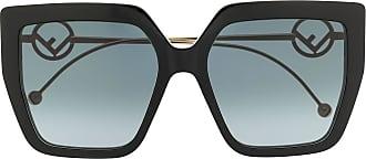 Fendi Óculos de sol quadrado com logo F - Preto