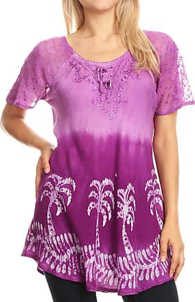 Sakkas 18713 - Magda Womens Short Sleeve Flare Bohemian Blouse Top Lace Batik Printed - Violet - OSP