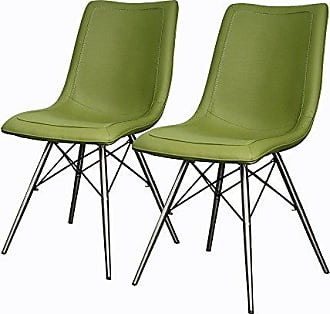New Pacific Direct Blaine PU Leather Chair,Stainless Steel Legs,Cactus Green,Set of 2
