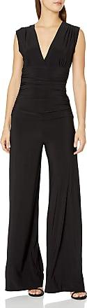 Norma Kamali Womens Sleeveless V Neck Shirred Waist Jumpsuit, Black, S