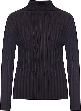 Issey Miyake Ribbed Roll Neck Top Womens Black