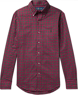 Polo Ralph Lauren Slim-fit Button-down Collar Checked Brushed-cotton Shirt - Red
