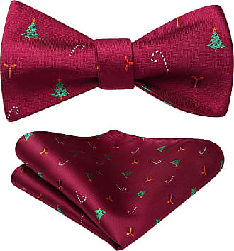 Hisdern Mens Christmas Tree Gift Woven Party Self Bow Tie Pocket Square Set