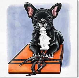 The Oliver Gal Artist Co. The Oliver Gal Artist Co. Oliver Gal Treasure Box Frenchie II Black Dogs and Puppies Wall Art Print Premium Canvas 30 x 30 Orange
