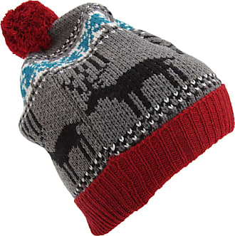 Universal Textiles Mens Reindeer Design Christmas Chunky Bobble Hat (One Size) (Red)