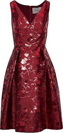 Carolina Herrera Carolina Herrera Woman Pleated Brocade Dress Brick Size 10