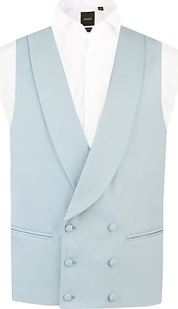 Dobell Mens Duck Egg Blue Morning Suit Wedding Waistcoat Regular Fit Shawl Lapel Double Breasted-XL (46-48in)