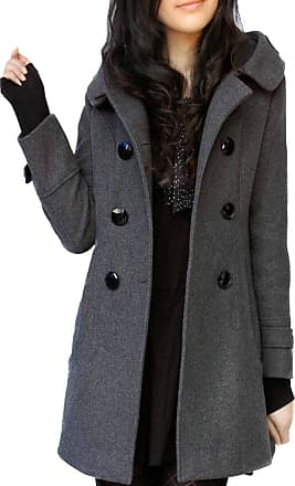 H&E Womens Slim Double Breasted Wool-Blend Hooded Trench Coat Pea Coat Gray Medium