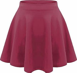 21Fashion Kids Girls Children High Waisted Stretch Plain Flippy Flared Short Skater Skirts Wine 9-10 Years