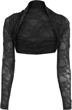 Top Fashion18 Womens Long Sleeve Lace Floral Ladies Cropped Short Shrug Bolero Cardigan Top 8-22 Black