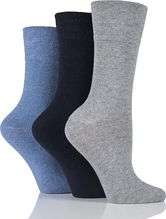 SockShop 6 Pairs Ladies Sockshop Diabetic Gentle Grip Socks 4-8uk 37-42eur Blue / Grey