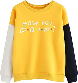 Kobay Women Sweatshirt, Ladies Color Block Long Sleeve Letter Print O-Neck Pullover Top Blouse Womens Clothes Sale (UK:14,Yellow-1)