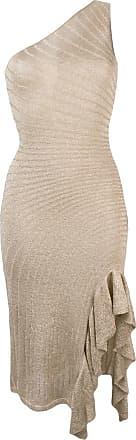 Just Cavalli Vestido slim de um ombro só - Dourado