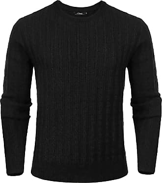 iClosam Mens Set-in Classic Sweater Pullover Jumper Knitwear ( 3 Black, XXL)