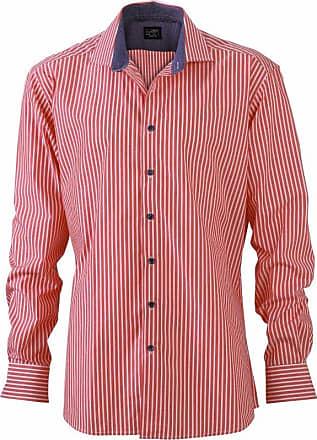 James & Nicholson Mens JN632 Stripe Shirt red-White/Navy XXL