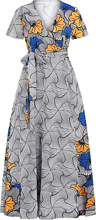 EmilyLe Womens African Boho V Neck Dress Summer Casual Short Sleeve Split Floral Floor Length High Waist Maxi Dresses (XL, Grey)