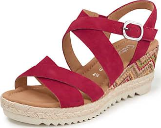 Gabor Kidskin suede platform wedge sandals Gabor Comfort red