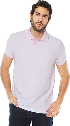 Aleatory Camisa Polo Aleatory Reta Listrada Branca Rosa 055fce9a473e2