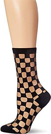 Ozone Womens Japanese Sheer Patterned Crew Sock,Black,One Size