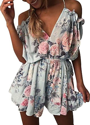 Isshe Summer Playsuits Womens Off The Shoulder V Neck Halter Playsuit Ladies Jumpsuits Short for Women Floral Jumpsuit Shorts Party Holiday Beach Playsuit M