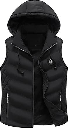 ZongSen Mens Padded Coat Lined Quilted Sleeveless Bodywarmers Hooded Gilets Vest Jackets Black S
