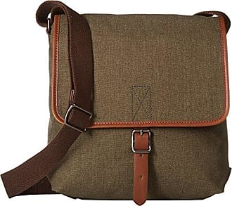 Fossil Mens Buckner Leather Trim City Bag Olive/Brown One Size