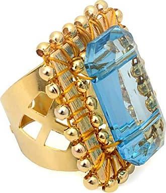 Tinna Jewelry Anel Dourado Quadriculado Com Resina (Azul)