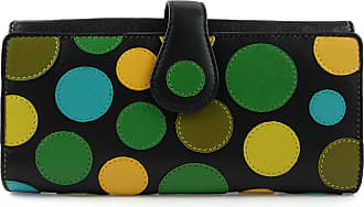 Visconti Ladies Leather Polka Large Flap Over Purse/Wallet Gift Box Coin (Lilly Pad)