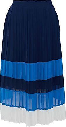 Joie Joie Woman Alpons Pleated Color-block Chiffon Skirt Navy Size XS