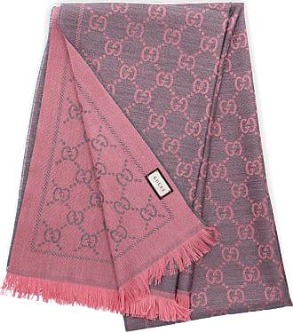 Gucci Schal 3G200 Wolle Logo rosa grau