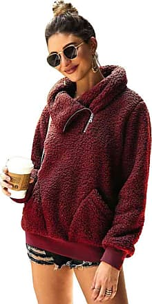 YYW Womens Winter Lapel Sweatshirt Faux Shearling Shaggy Warm Pullover Zipped Up with Pockets Tops (Burgundy,S)