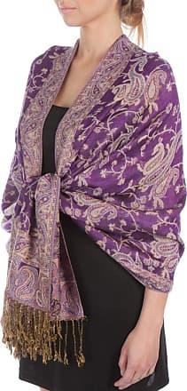 Sakkas Double Layer Jacquard Paisley Pashmina Shawl/Wrap / Stole, One Size, Purple / Champagne Paisley