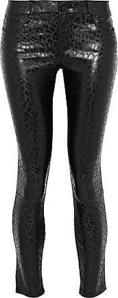 14f2775295cd Rta Rta Woman Cropped Leopard-print Leather Skinny Pants Black Size 24
