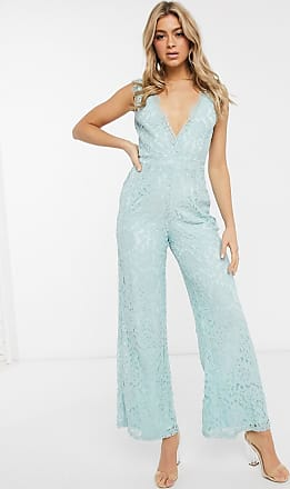 Missguided sleeveless lace jumpsuit in mint-Green