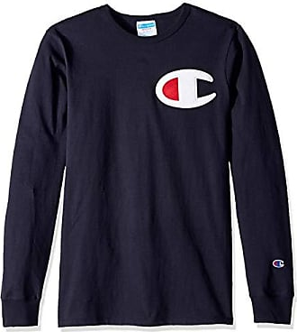 eef6bc56 Champion LIFE Mens Heritage Long Sleeve Tee, Navy/c Patch Applique, Large