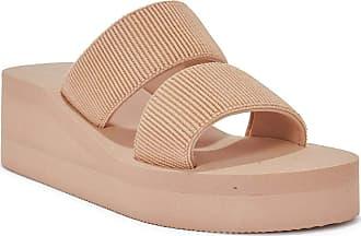 Truffle Womens Slip On Sliders Cross Strap Comfy Flatform Sandals Mule Summer Shoes - Nude - UK 8