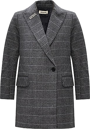 Zadig & Voltaire Patterned Peak Lapel Coat Womens Grey